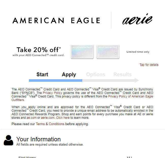 apply for aeo credit card