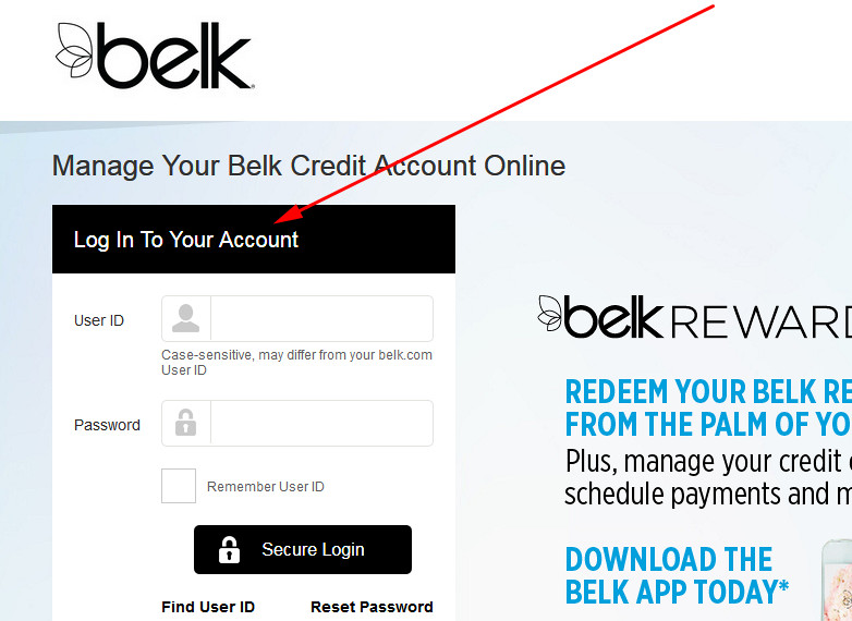 belk credit card login