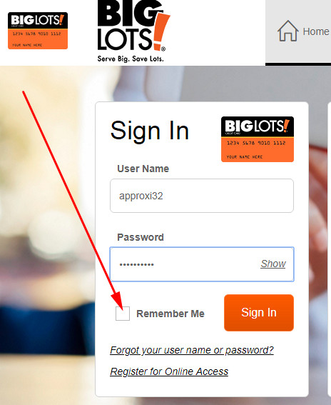 big lots card login