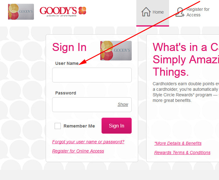 Goody's Credit Card login