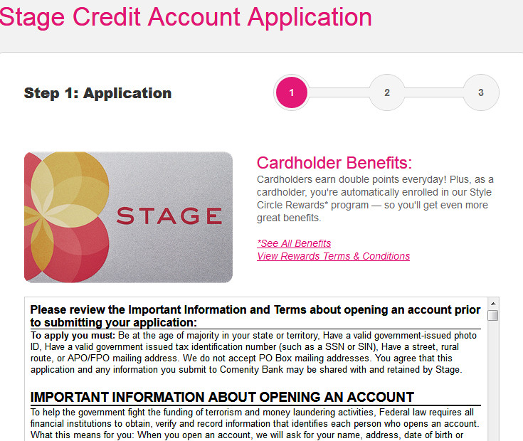 Goody's Credit Card Application