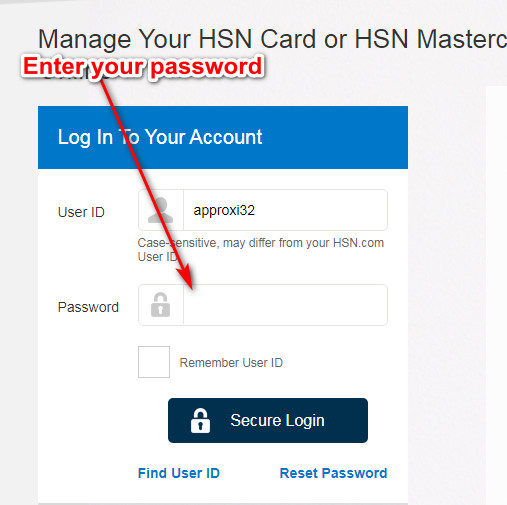 HSN Credit Card login