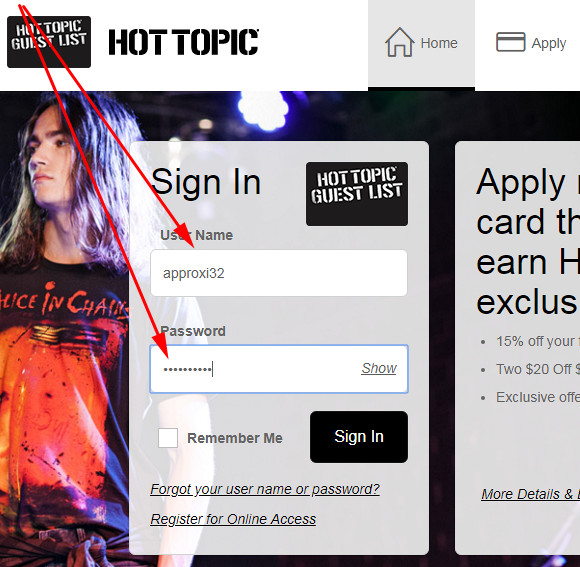 hot topic guest list credit card