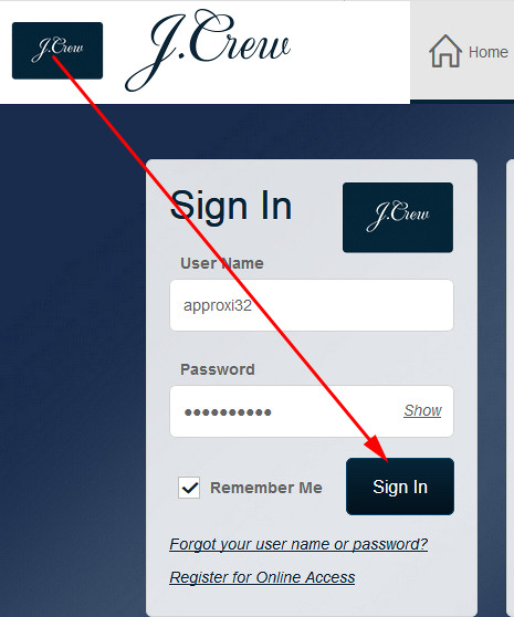 j crew credit card login