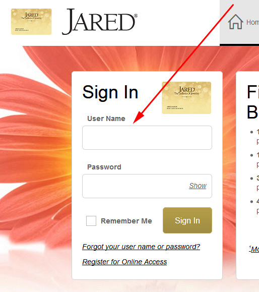 Jared Credit Card login