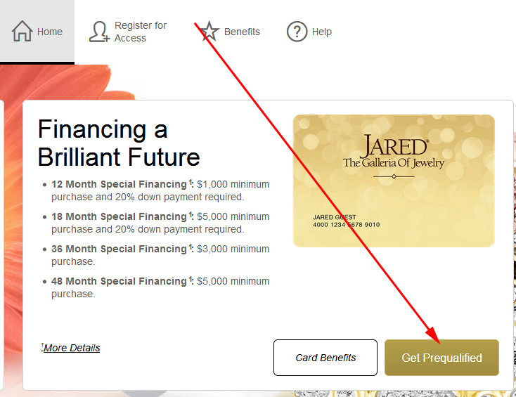 jared credit card requirements