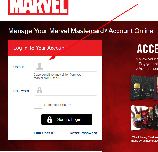Marvel credit card login
