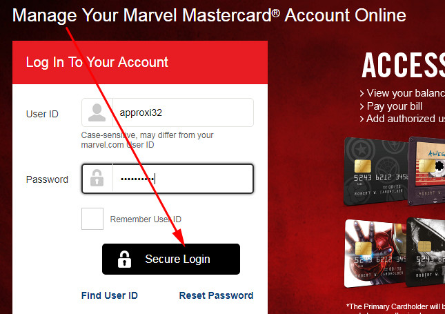 marvel credit card payment