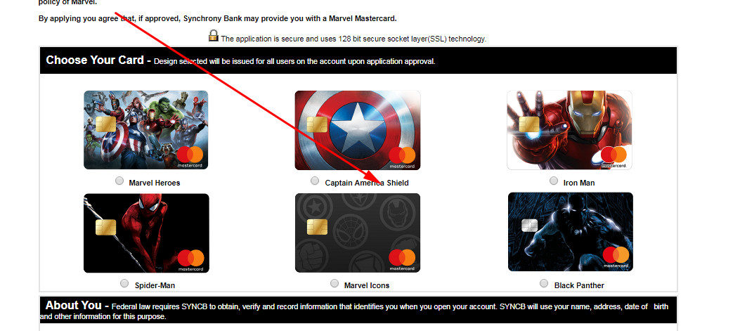 marvel credit card application