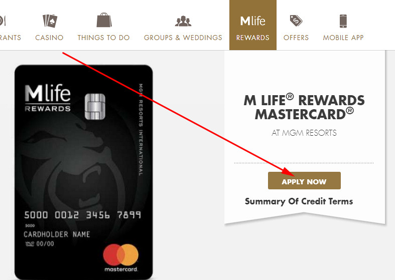 mlife credit card sign in