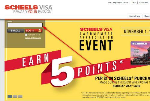 scheels credit card login