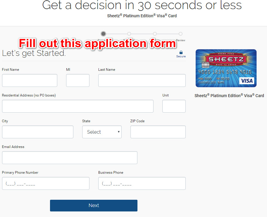 Sheetz Credit Card application