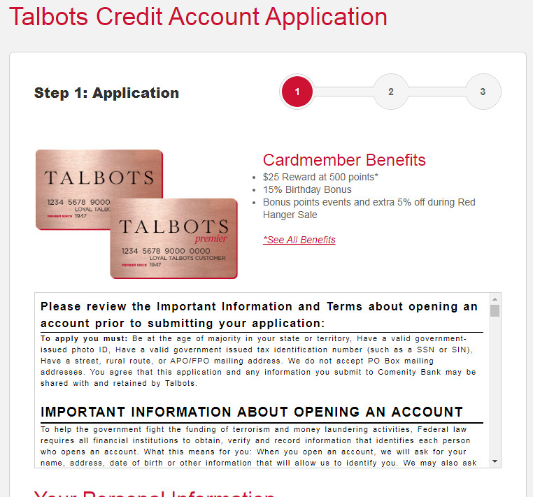 How to get Talbots Premier credit card