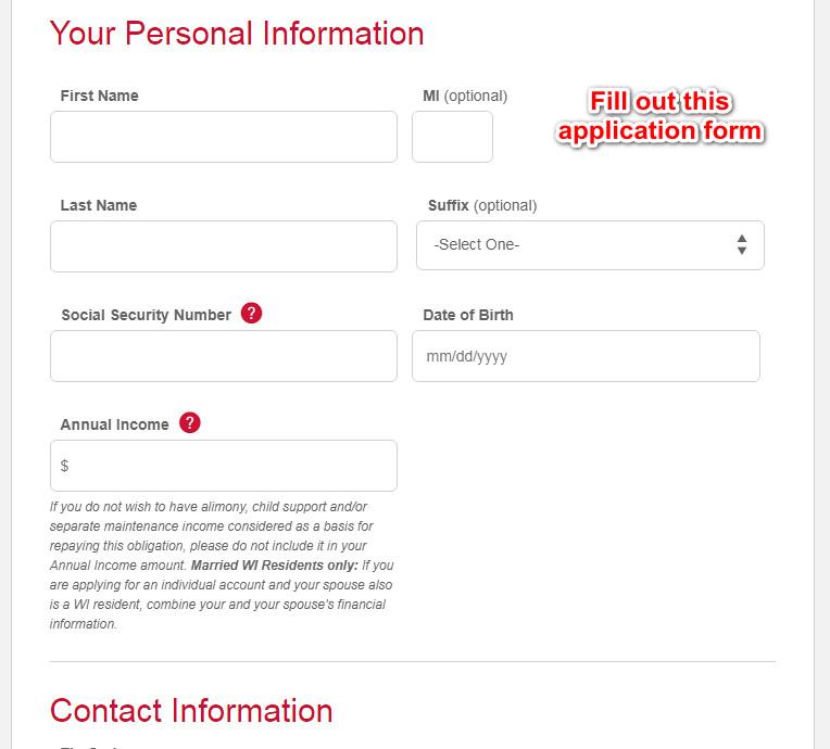 Talbots credit card application