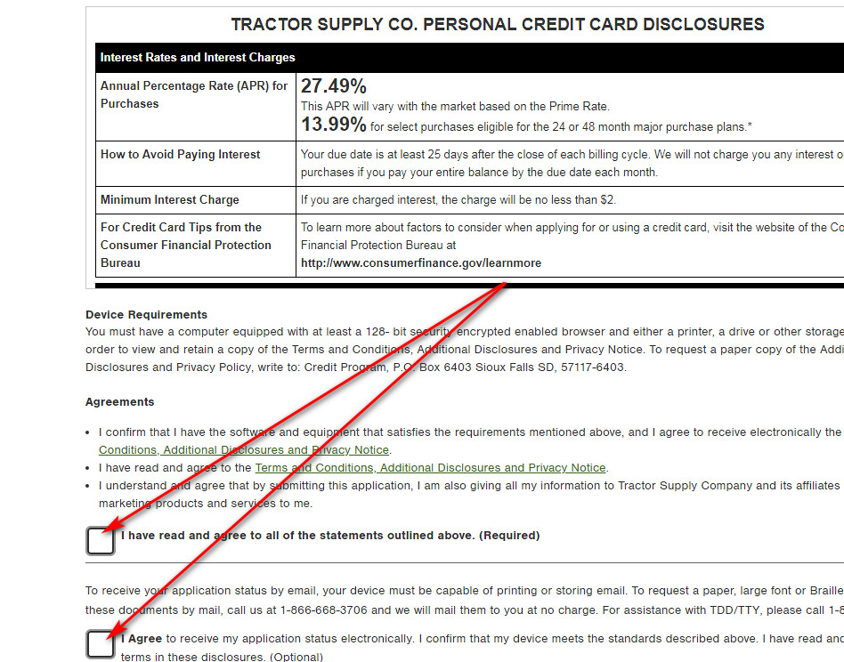 Tractor Supply Credit Card interest rate and fees