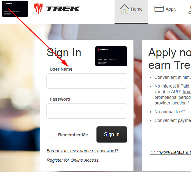 trek credit card login