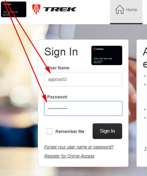 Trek credit card sign in