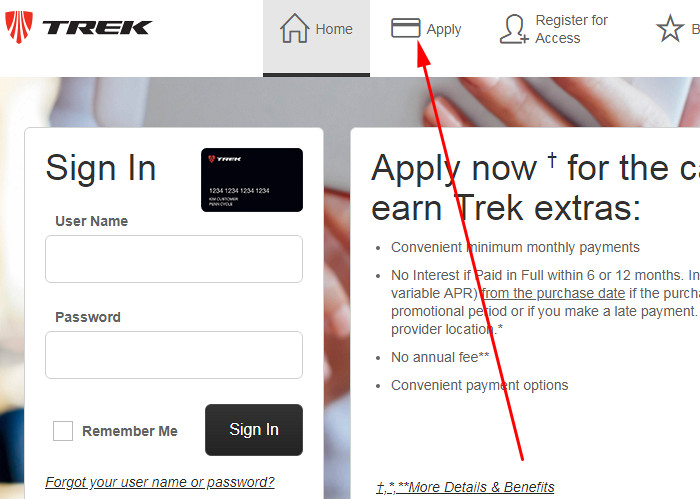 apply for trek credit card