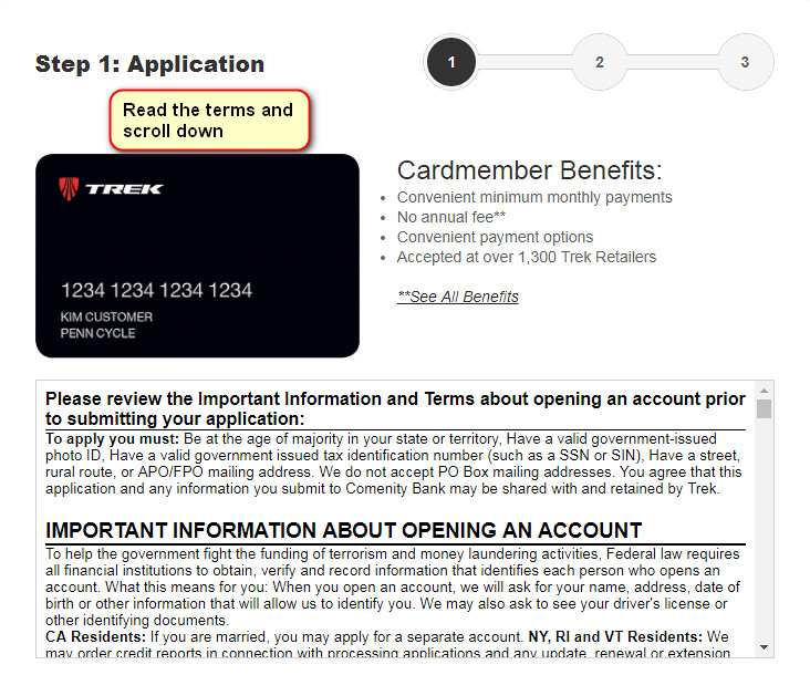 trek credit card application