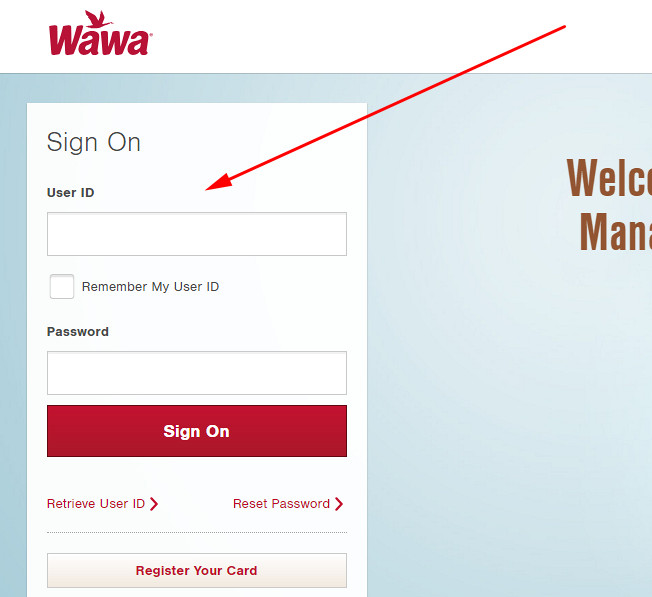 wawa credit card login