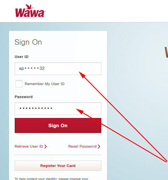 wawa credit card sign in