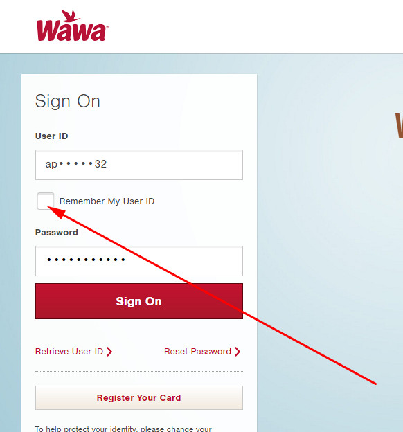 wawa credit card log in