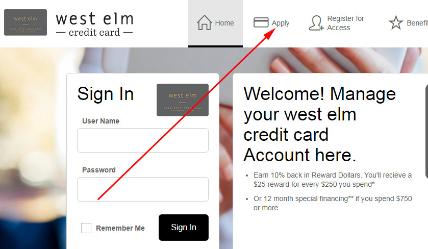apply for west elm credit card