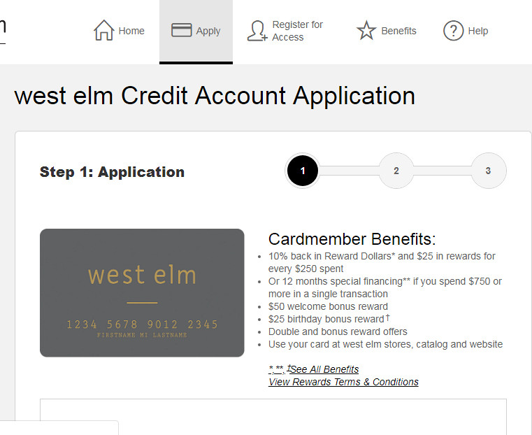 pay west elm credit card