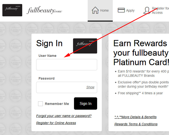 fullbeauty credit card login