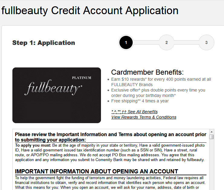 fullbeauty credit card sign in