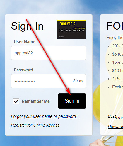 Forever 21 Visa Credit Card Login