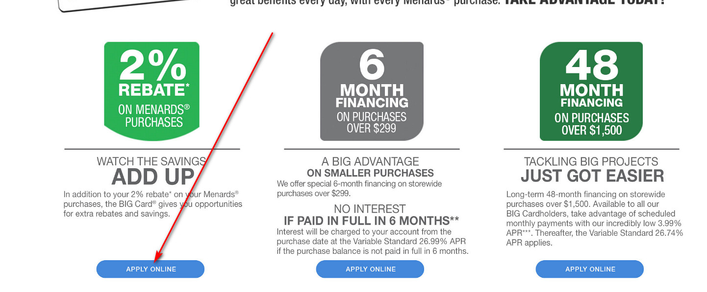 Menards credit card application